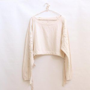 NWT Free People Cropped Jacquard Lace Top